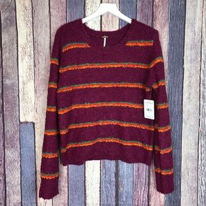 New With Tag Free People Bright Striped Sweater L